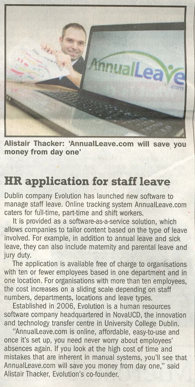 AnnualLeave.com article in the Sunday Business Post